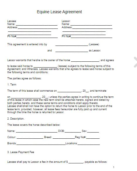 horse lease agreement  word templates