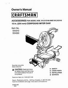 Craftsman 315 2121 Owner U0026 39 S Manual Pdf Download
