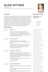 resume of a dentist format dentist resume sles visualcv resume sles database