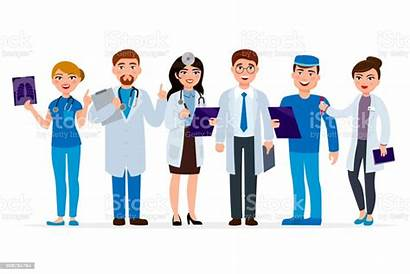 Cartoon Medical Staff Medico Team Doctors Workers