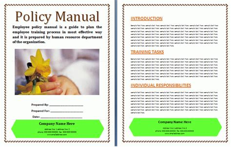 Company Safety Manual Template by Policies And Procedures Manual Template Free Manual