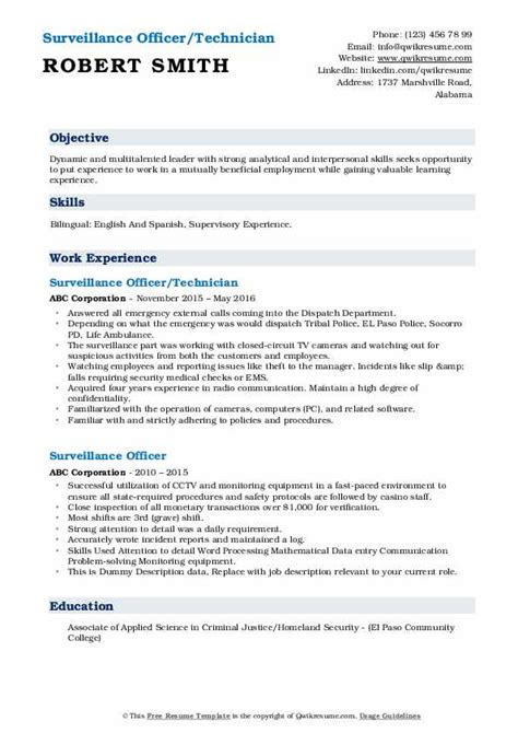 surveillance officer resume samples qwikresume