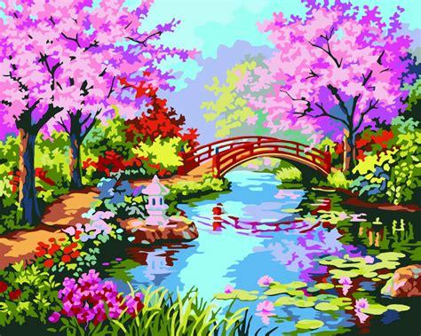 hq japanese cherry purple flower garden painting  hand