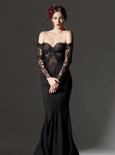 black sleeve wedding dresses black lace wedding dress with illusion sleeves sang maestro