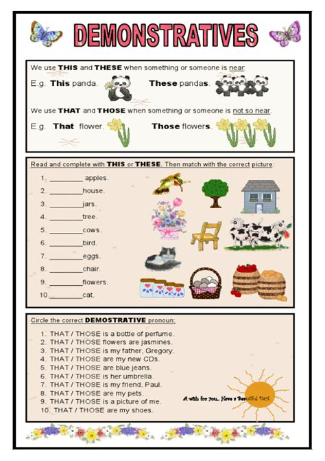 demonstratives esl printable worksheets  english exercises