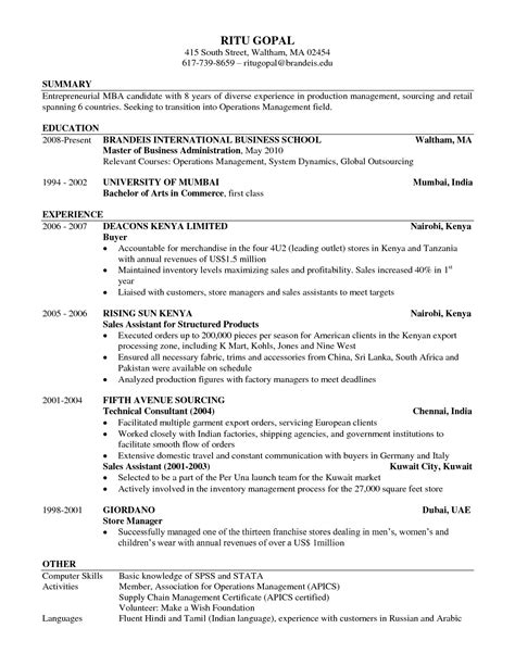 Business Resume Template Free by Stanford Cover Letter Sle Esl Tutor Resume Mba Book
