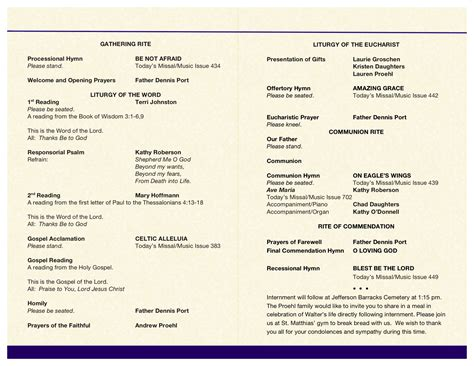 Mass Booklet Templates by Wally S Funeral Mass Booklet Confessions Of A Catcher In