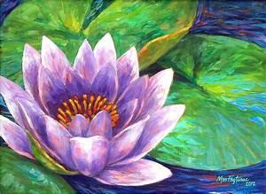 Purple Lotus Flower Painting by Mon Fagtanac