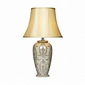 Cream table lamp and shade. Ceramic base decorated with ...
