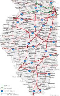Illinois Road Map with Cities