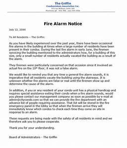 Condo ociation notice to residents re fire alarm procedures