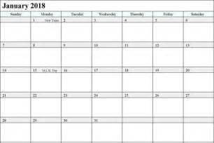 2018 January Calendar Template