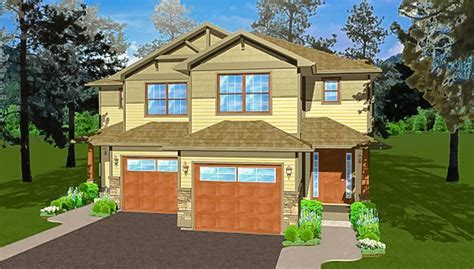 Side By Side Craftsman Duplex House Plan   67719MG