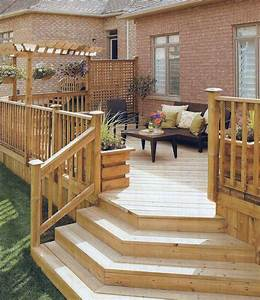 Wooden Deck With Lattice Privacy Partition  Likes Stair