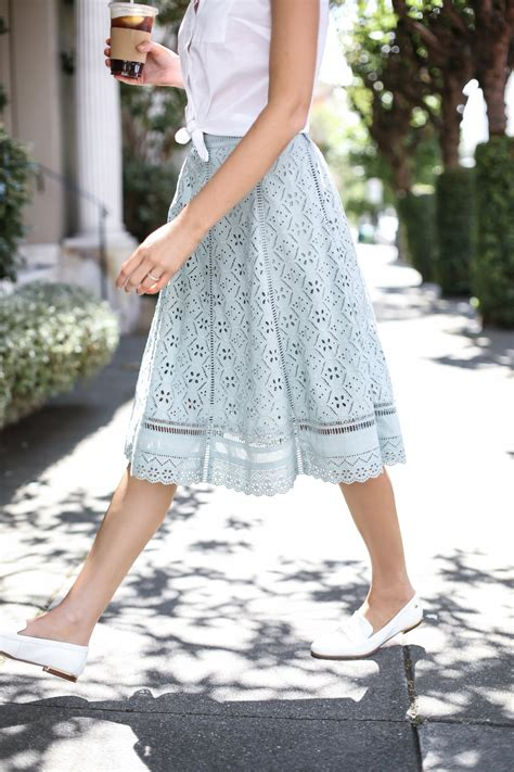 mint eyelet midi skirt memorandum nyc fashion