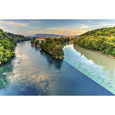 Rhone And Arve River Confluence Geneva Switzerland Hdr