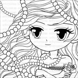 Big Eyed Pretty Girl Coloring Pages