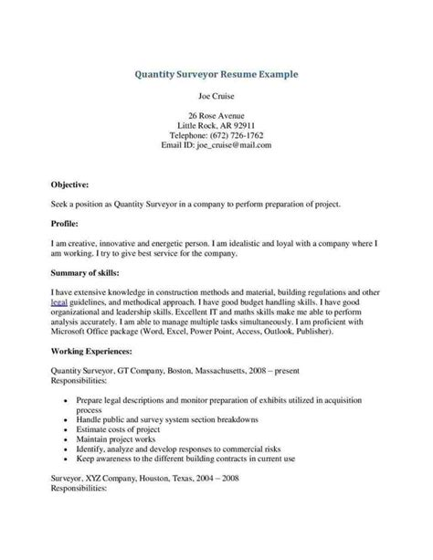 Cover Letter For Land Surveyor Resume by Cover Letter Template Quantity Surveyor My Style Cover