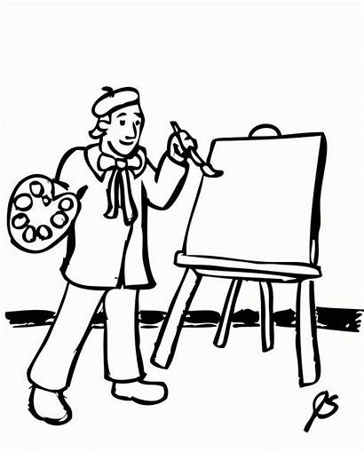 Coloring Painter Artist Obraz Maluje Malarz Printable