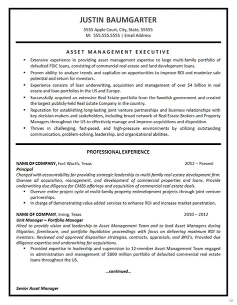 Professional Resume Exles Management by Asset Management Resume Writing Help Resume Exles