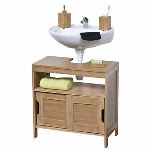 Meuble sous lavabo en bois achat vente meuble sous for Meuble lavabo bois salle bain