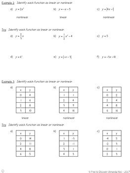linear v nonlinear functions notes and practice