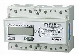 Three Phase 4 Wire Din Rail Kwh Meter With Far Infrared