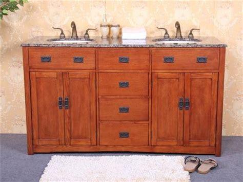 Mission Style Bathroom Vanity - 60 quot mission style wood bath vanity with granite