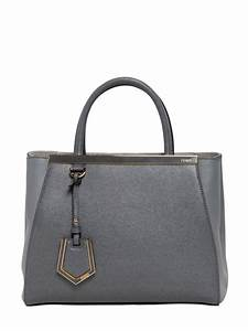 lyst fendi mini 2jours structured leather bag in gray With fendi letter bag