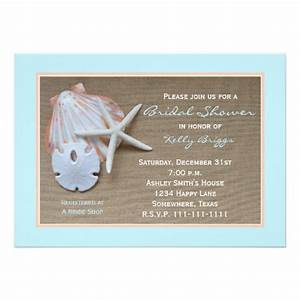beach theme bridal shower invitation burlap 5quot x 7 With wedding shower invitations beach theme