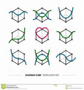Diagram Cube Logo Set Stock Photo