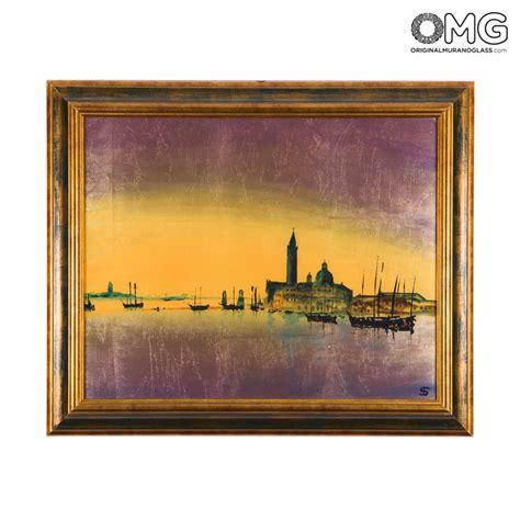 quadri con cornice quadro con cornice su vetro di murano panorama di san