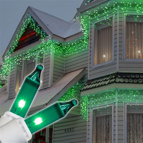 christmas icicle light  green icicle lights white wire
