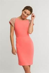 Vestido corto recto coral manga raglanlentejuelas hombros espalda