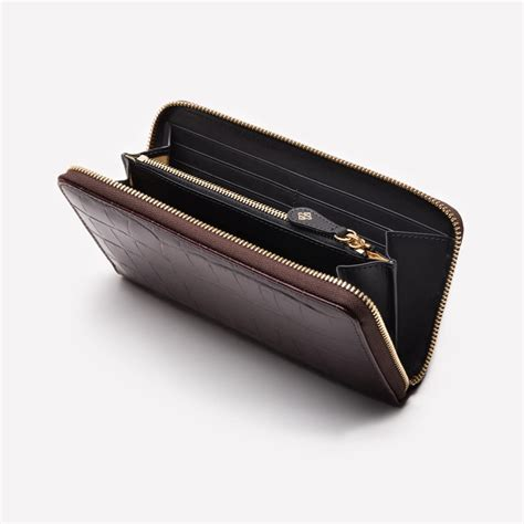 croco large zip  purse ettinger london