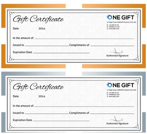 gift certificates  psd ai ms word vector