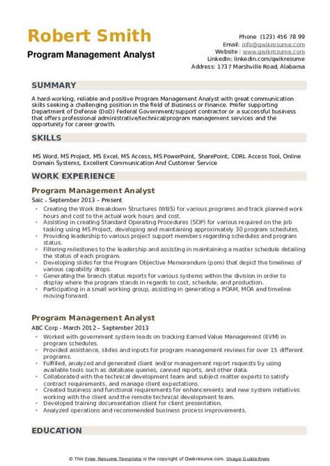 Program Analyst Resume by Program Management Analyst Resume Sles Qwikresume