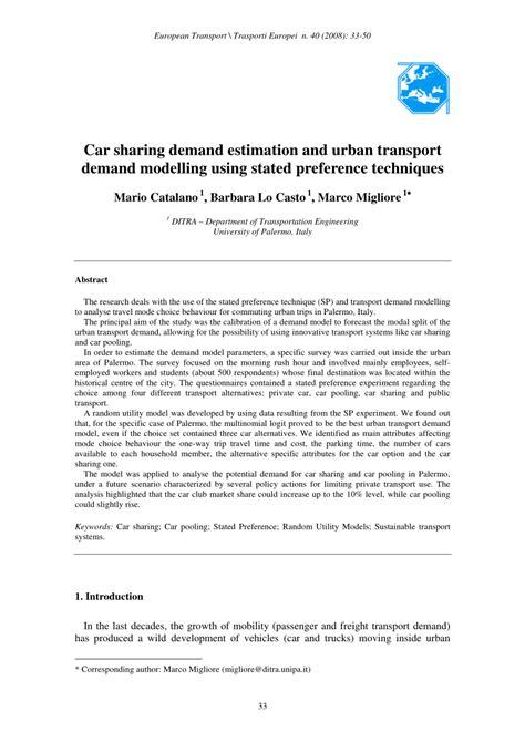 car sharing demand estimation  urban transport