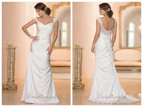 Wedding Dresses With Sleeves : Classic Illusion Cap Sleeves Sweetheart Ruched Bodice