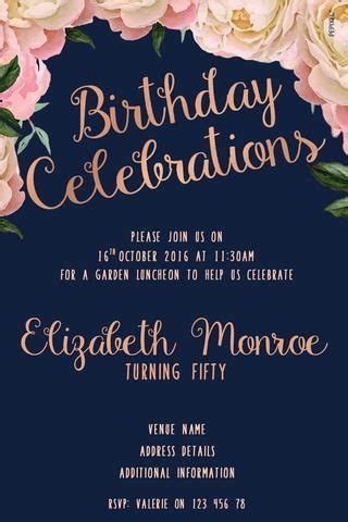 birthday invitations elegant peonies