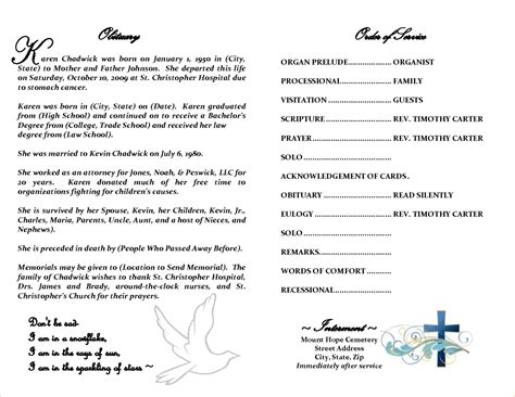 Free Obituary Template Word  Calendar Template Letter