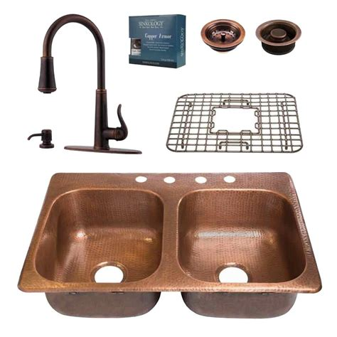 copper kitchen sink faucets sinkology pfister all in one copper kitchen sink 33 in 4 hole design kit with ashfield pull