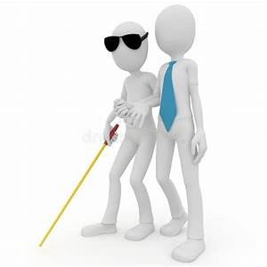 3d Man Helping Older Blind Man Stock Illustration - Image ...