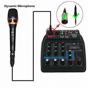 4 Channel Mini Audio Mixer Usb Mixing Sound Card Bluetooth