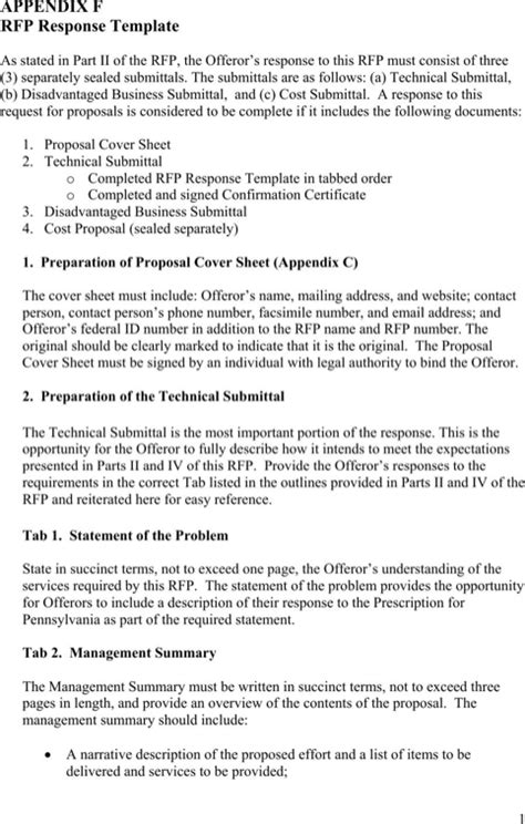rfp response template rfp template for free formtemplate