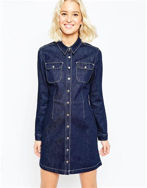 a line denim dress lyst asos denim a line shirt dress in indigo in blue