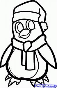 How to Draw a Christmas Penguin, Step by Step, Christmas ...