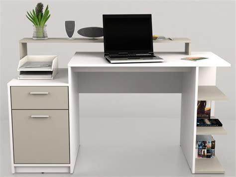 bureau om bureau zacharie 1 tiroir 1 porte blanc taupe