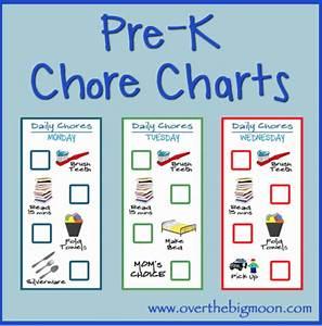 Pre K Chore Charts Over The Big Moon
