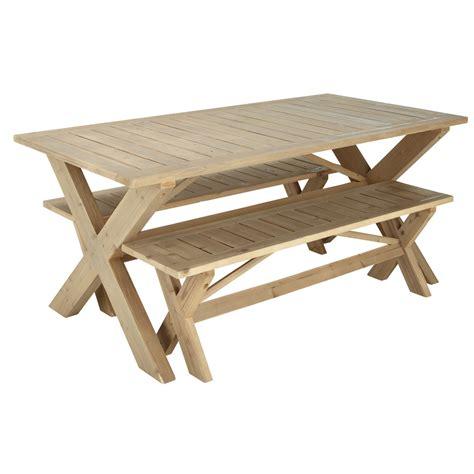 Table + 2 Bancs De Jardin En Bois L 180 Cm Lacanau